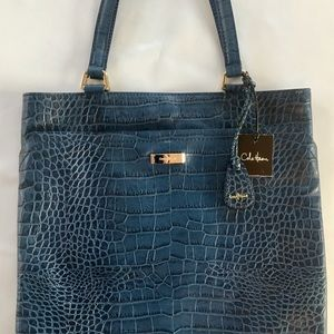 Cole Haan Village Marcy Market Tote, Blue, Leather